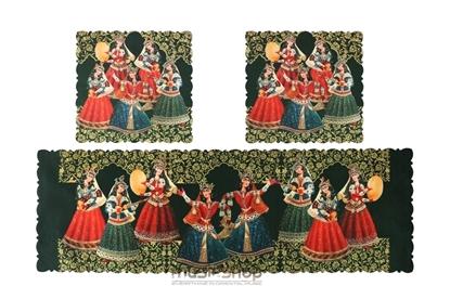 Bild von Complete set traditional Art Runner Table Cover Cloth -velvet