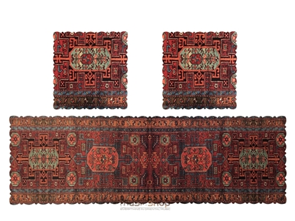 Bild von Set of traditional design Runner Table Cover Cloth -velvet